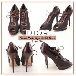 Christian Dior Brown Mesh High Heeled Shoes